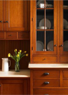 Dark, light, oak, maple, cherry cabinetry and wood kitchen cabinets discount. CHECK THE PIN for Lots of Wood Kitchen Cabinets. Cherry Wood Kitchen Cabinets, Kitchen Craft Cabinets, Cherry Wood Kitchens, Glass Front Cabinets, Kitchen Ideas, Cherry Kitchen, Wooden Cabinets, Upper Cabinets, Kitchen Cabinets That Look Like Furniture