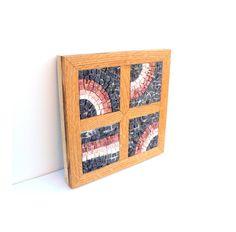 wood and stone mosaic block wall art Four by LaTenagliaImpazzita...love it