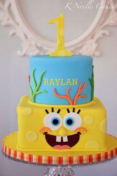 Spongebob theme cake by K Noelle Cakes Spongebob Birthday Party, Birthday Party Tables, Birthday Candy, Birthday Cake Girls, 2nd Birthday, Sponge Bob Cupcakes, Sponge Bob Cake, Ocean Cakes, Snowman Cake