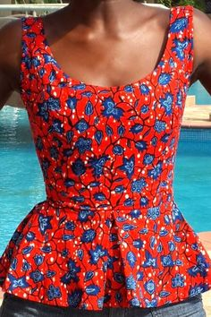 red ankara top. . . Simple, yet elegant