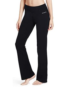 Baleaf Womens Yoga Bootleg Pants Inner Pocket Black Size M *** Learn more by visiting the image link.