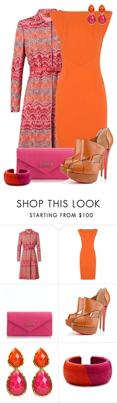 """Pink and Orange Contest #1"" by lifebeautiful ❤ liked on Polyvore featuring Missoni, Roland Mouret, DKNY, Christian Louboutin, Amrita Singh and DANNIJO"