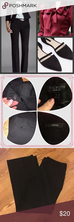 """Black Dress Slacks Condition - excellent preowned, no flaws, and have been in storage and need to be cleaned. Color(s) - all black Style & Features - signature collection dress career slacks with two front hip pockets, two back pockets, belt loops, two hook/zip closure, unlined, straight leg pants, medium weight good for three seasons. Material - polyester rayon spandex blend Care - Machine washable Measurements (laying flat) - 🔹waist 36"""", 🔹hips 42"""", 🔹mid rise, 🔹leg inseam 31"""". Talbots…"""