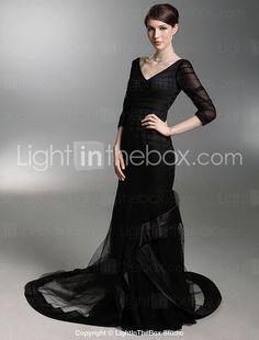 Satin Trumpet/ Mermaid V-neck Court Train 3/4-Length Sleeves Evening Dress inspired by Susan Geston at Oscar - US$ 199.99