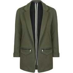 TOPSHOP Jersey Boyfriend Jacket ($90) ❤ liked on Polyvore featuring outerwear, jackets, dark khaki, single breasted jacket, jersey knit jacket, topshop, boyfriend jacket and jersey jacket