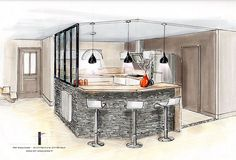 Design Sketch Home Inspiration 31 Ideas For 2019 Interior Design Sketches, Rustic Interiors, Home Kitchens, Interior Architecture, Living Room Designs, Sweet Home, New Homes, House Design, Gauche
