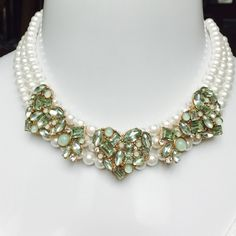"""Betsey Johnson Heart Triple Strand Pearl Necklace BEAUTIFUL & AUTHENTIC- Betsey Johnson MINT COLORED CRYSTAL AND TRIPLE HEART & FAUX PEARL STRAND NECKLACE. Measures 16"""" L with a 2"""" Extender. RETAILS $68.00 Betsey Johnson Jewelry Necklaces"""