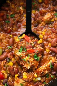 The easiest and tastiest chicken + quinoa chili made in the slow cooker. No need to cook the chicken or quinoa first!This is seriously one heck of a chili recipe!! Not only is it so crazy easy, but it's absolutely delicious, and very good for you! It's packed with protein, nutrients, and tons of flavor....