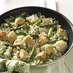 Dilled Chicken and Asparagus Recipe -If a delicious chicken and rice entrée is what you're looking for, look no further than this mild herb-flavored rice dish with tender asparagus. —Mary Ann Marino, West Pittsburgh, Pennsylvania