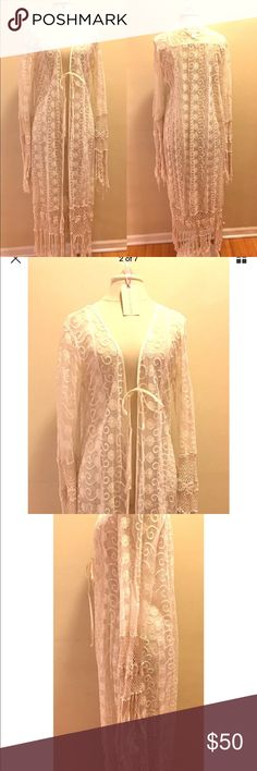band of gypsies Boho Long Ivory Lace Crochet Coat Stunning Designer band of gypsies Bohemian Long Ivory Cream Lace Crochet Coat Dress Bell with Sleeves, floor length  Color: Ivory/Cream/Natural  Size: Large Band of Gypsies Jackets & Coats Capes