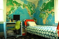boys bedroom love the colors and feel of this oceanic world map as wallpaper. retro bed and bedding cute to0.