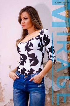 Fehér alapon fekete madár mintás, dekoltált, háromnegyedes ujjú body. 9990 Ft Lily, Blouse, Tops, Women, Fashion, Moda, Fashion Styles, Orchids, Blouses