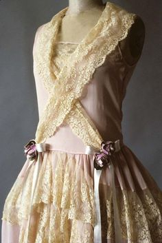 Detail of robe de style of pink silk crepe and lace, American, 1920s, KSUM 1983.1.377.