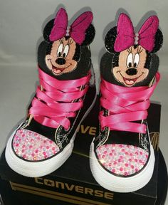 726a8f53f8e7 Girls Bling Custom Converse Sneakers Minnie Mouse Hello Bling Converse