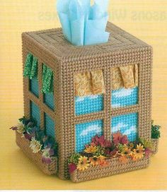 FOUR SEASONS WINDOW BOXES TISSUE BOX COVER PLASTIC CANVAS PATTERN INSTRUCTIONS
