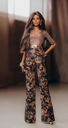 Doll Repaint Tutorial, Beautiful Dolls, Fashion Dolls, Barbie Dolls, Jumpsuit, Brown, Pants, Black, Dresses