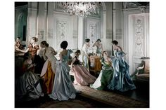 "Cecil Beaton's photograph of Charles James's ball gowns for 'Vogue.' Photo: Metropolitan Museum of Art. ""Charles James: Beyond Fashion,"" the Anna Wintour Costume Center's inaugural exhibition, focuses on the architectural nature of James' couture gowns. Charles James, Anna Wintour, Anna Karenina, 1940s Fashion, Look Fashion, Vintage Fashion, Fashion Design, Fashion News, Vintage Couture"