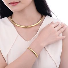 Women 18K Gold Plated Necklace Bracelet Jewelry Set     FREE Shipping Worldwide     http://fashjewels.de/new-arrivals-18k-gold-jewelry-sets-for-women-choker-necklace-set-gold-plated-bracelet-silver-set-stainless-steel-jewellery-set/