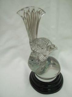 LALIQUE FRENCH GLASS CAR MASCOTS-HOOD ORNAMENTS PAIR Tete de Paon/Peacocks Heads