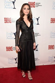 Emmy Rossum attends the Writers Guild Awards wearing J. Mendel Pre-Fall 2016