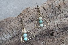 Blue Impression and Brass Earrings