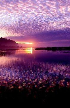 beautiful purple clouds at sunset