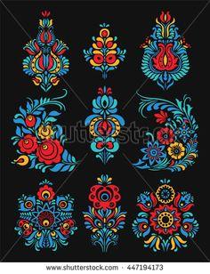 Find Vector Set Floral Elements Traditional Russian stock images in HD and millions of other royalty-free stock photos, illustrations and vectors in the Shutterstock collection. Folk Art Flowers, Flower Art, Russian Embroidery, Abstract Images, Abstract Paintings, Art Paintings, Russian Folk Art, Madhubani Art, Scandinavian Folk Art
