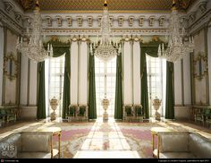 """3D architectural model by VisCorbel. """"An interior inspired by the luxury and opulence of European palaces."""""""