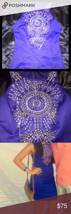 Gorgeous BEBE dress with rhinestones Royal blue BEBE dress in great condition. No stains/tears bebe Dresses