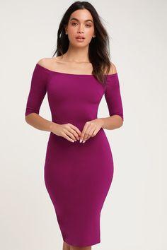 Chic Purple Dress - Off-the-Shoulder Dress - Purple Midi Dress Party Dresses For Women, Cute Dresses, Girl Fashion, Fashion Dresses, Daily Fashion, Classic Black Dress, Shower Dresses, Midi Dresses Online, Midi Cocktail Dress