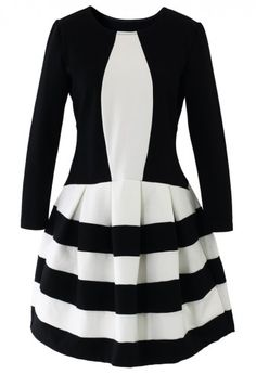 Contrast Two Toned Striped Dress $59