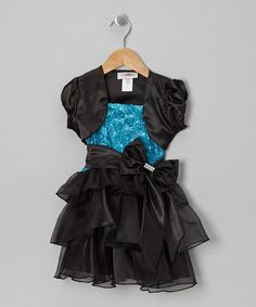 Take a look at this Blue & Black Rosette Dress & Shrug - Toddler & Girls by High Fashion on #zulily today!