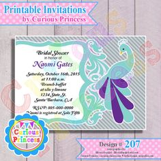 207 peacock feathers invitations 4x6 by CuriousPrincessParty, $9.99 in teal gray grey and purple perfect for weddings, baby shower or birthday party ideas
