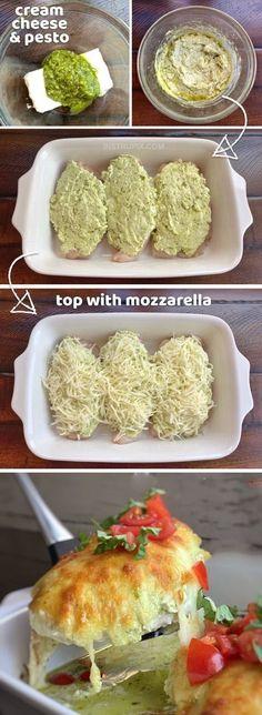 Cheesy Pesto Baked Chicken - Düşük karbonhidrat yemekleri - Las recetas más prácticas y fáciles I Love Food, Good Food, Yummy Food, Tasty, Yummy Snacks, Low Carb Recipes, Cooking Recipes, Healthy Recipes, Crab Recipes