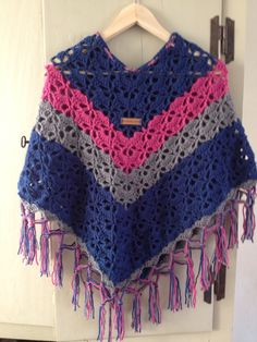 Crochet poncho for 6/7 year old girl.