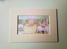 Avebury Sheep & Stones   Watercolour
