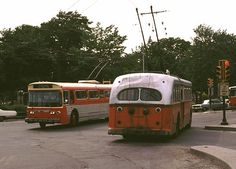 toronto trackless trolleys | coach at the north end of Harvard Square, Cambridge in June, 1971.