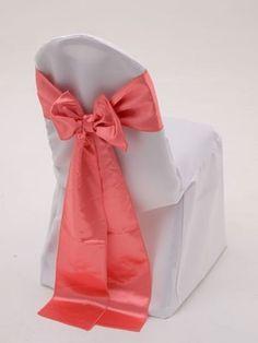 100 Coral Satin Chair Cover Sash Bows 6 x 108 Banquet Wedding Made in USA | eBay