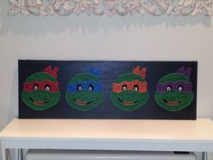 Teenage Mutant Ninja Turtles String Art. 90cm x 35cm $110. Check us out on Facebook at All Strung Up. https://www.facebook.com/pages/All-Strung-Up/915873695199667?ref=hl