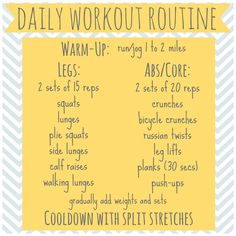 daily workout routine with cardio, legs, abs, and stretches :)