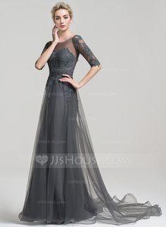 [US$ 149.99] Corte A/Princesa Fuera del hombro Cola corte Tul Vestido de noche