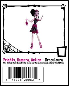 Monster High DollSmaller boxed dolls part of the Frights, Camera, Action line. Checklist