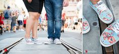 Engaged couple with matching Disney Yoda shoes at destination Disney World engagement session.  NO TRAVEL FEES IN THE US!