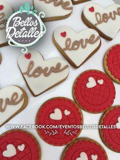 Galletas decoradas san Valentín fondant cookies http://www.facebook.com/eventosbellosdetalles