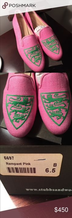 ‼️FINAL PR‼️NWT Stubbs&Wootton pink linen loafers ‼️FINAL PR‼️NWT Stubbs & Wootton pink linen loafers size 6.5.  Comes with original box, dustcloth and Stubbs shoe travel pouch.  Style is called rampant pink Made in Spain.  Original owner but broke ankle so can't wear !! Design on front of shoe has green embroidery of lions reminds me of a Ferrari decal (but it's not a horse!). Super cute and preppy!! Mint condition NWT.  Compare at $450 on their website.    This was a rare limited edition…