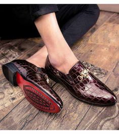 Men's #red leather slip on #DressShoes check metal decorated design, Point toe, work, office, business occasions.