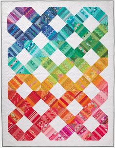 Scrap Happy Quilt by Amy Smart featured in Issue 85 of Love Patchwork and Quilitng Magazine - perfect for using all of your favorite rainbow scraps. Amy Smart, Patchwork Quilt Patterns, Scrappy Quilts, Quilt Patterns Free, Baby Quilts, Heart Quilts, Quilting Projects, Quilting Designs, Quilting Ideas