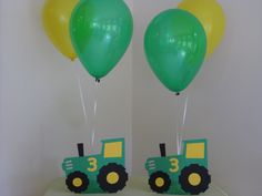 Tractor Birthday Party Decorations Centerpiece Balloon Holders Green and Yellow #BirthdayChild