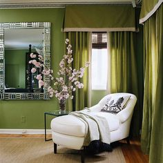 white chaise lounge in green room.this is such a pretty style. Master Bedroom, Bedroom Decor, Bedroom Ideas, Dark Green Walls, Green Windows, Green Home Decor, Green Curtains, Green Rooms, Room Colors
