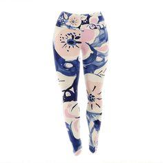 "Crystal Walen ""Midnight Moon Flower"" Blue Pink Yoga Leggings from KESS InHouse"